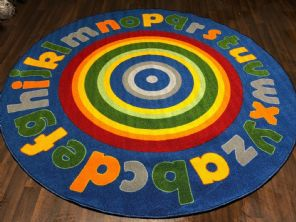 133X133CM RAINBOW CIRCLES RUG/MAT HOME/SCHOOL EDUCATIONAL NON SILP BEST SELLERS